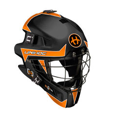Unihoc Summit 44 Optima Black/Orange - Goalie Mask