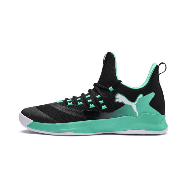 black and green puma shoes